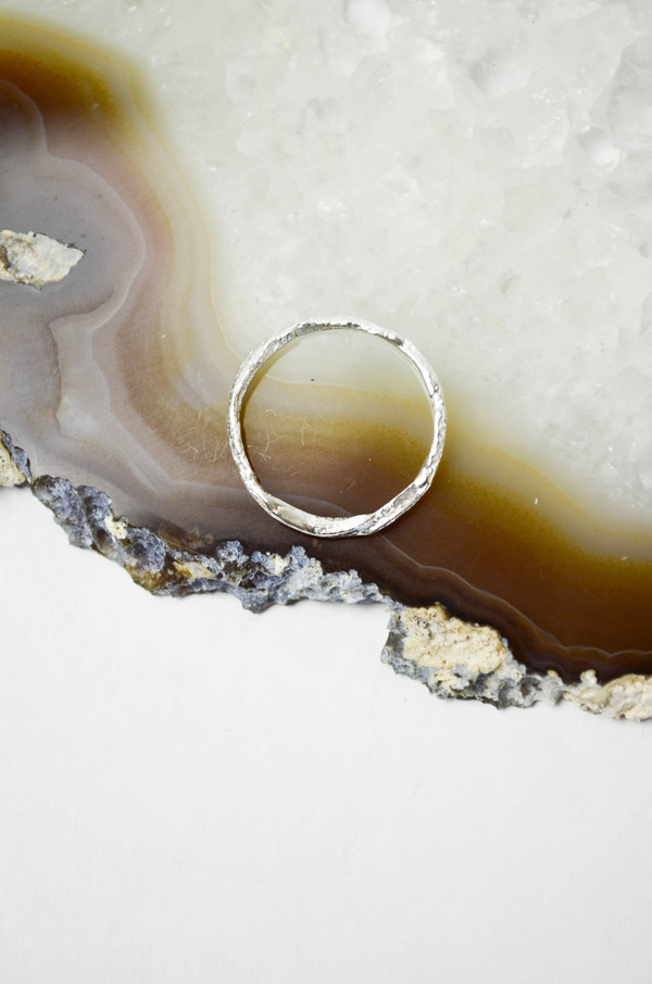 K/ller Silver Distressed Leather Ring