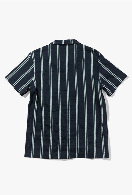 Native North Striped Silk Shirt - Navy