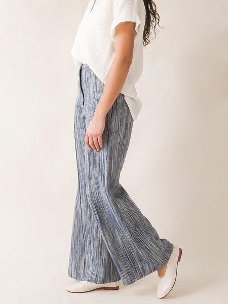 Erica Tanov darby pant - indigo sketch stripe