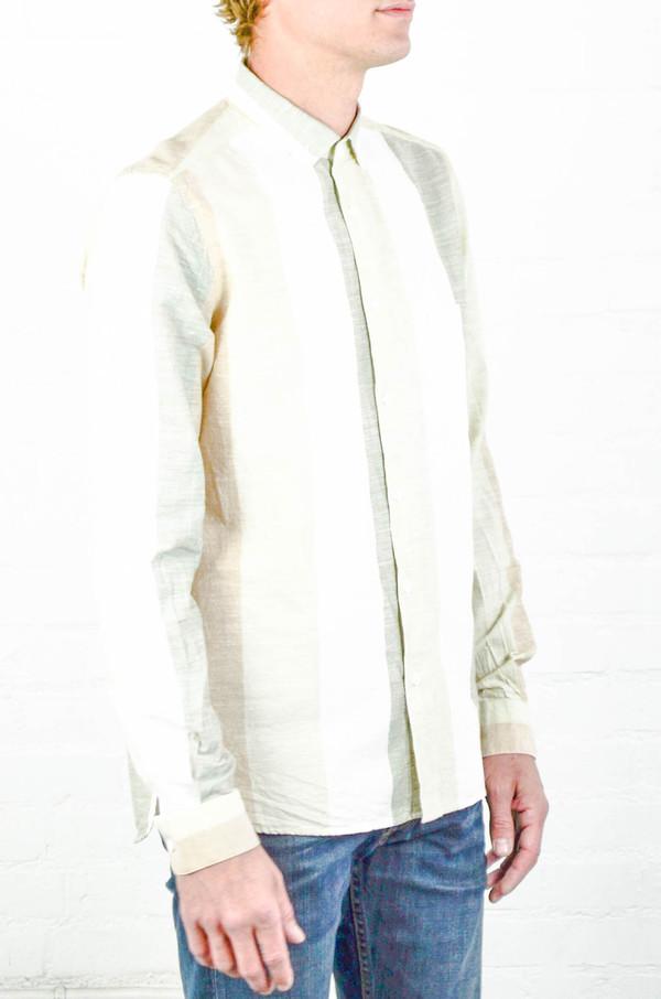 Men's YMC Green Wide Stripe Shirt