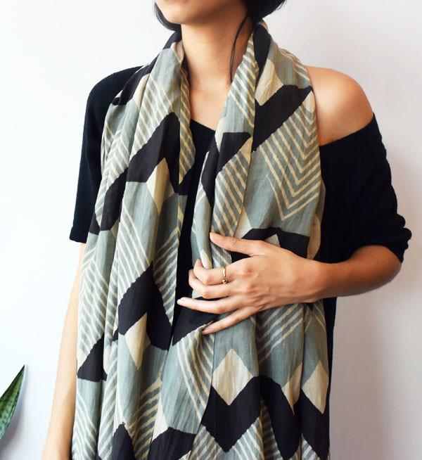 Block Shop Textiles Block Shop Marigold + Black Mosaic Scarf
