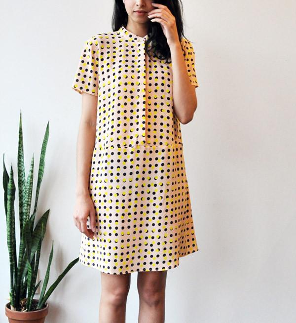 Dusen Dusen Peach Double Dot Oversize Tee Dress