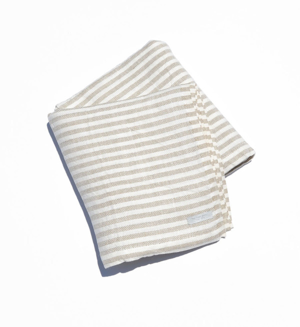 Fog Linen Work Fog Linen Natural Stripe Chambray Linen Blanket