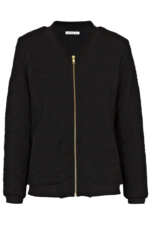 Black Pop Embossed Bomber Jacket