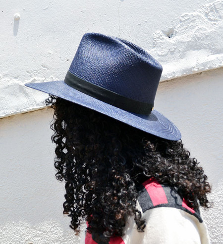 Janessa Leone Navy Aster Panama Hat
