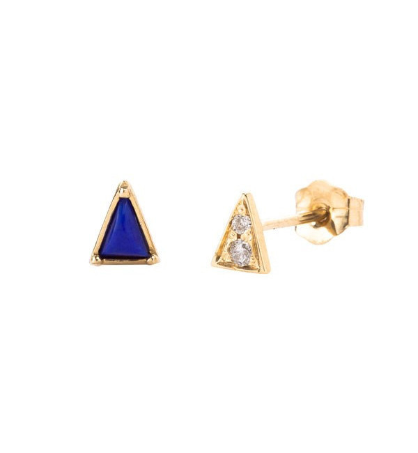 Mociun Lapis Mismatched Triangle & Diamond Earrings