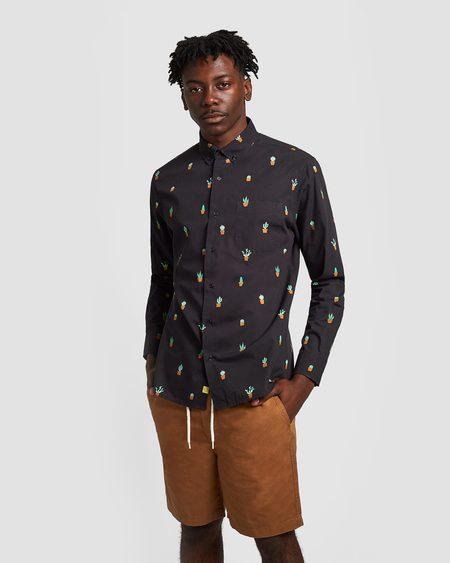 Poplin & Co. Micro Cacti Button Down Long Sleeve Shirt