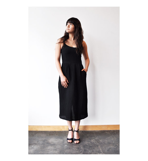 Objects Without Meaning Black Ripple Strappy Dress