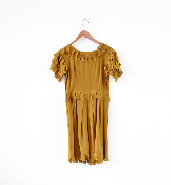 Samantha Pleet Gold Tatter Dress