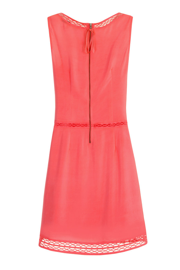 Tracy Reese - Coral Lace-Inset Silk Shift Dress