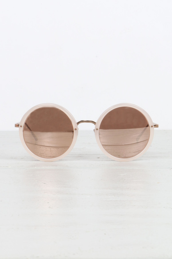 Linda Farrow Round Sunglasses in Milky Pink