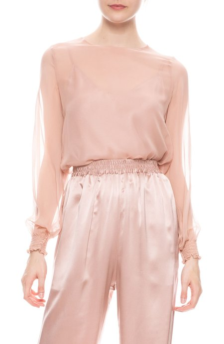 SABLYN Cora Sheer Silk Top - CHERRY BLOSSOM