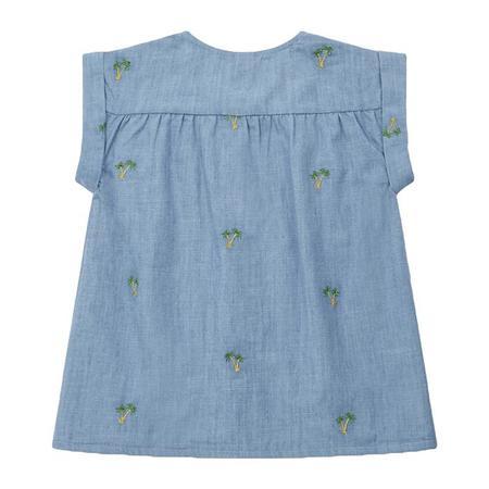 kids Bonton Child Andrea Palm Tree Embroidery Blouse - Blue