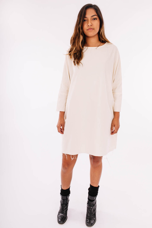 Black Crane Painter Dress (Cream)