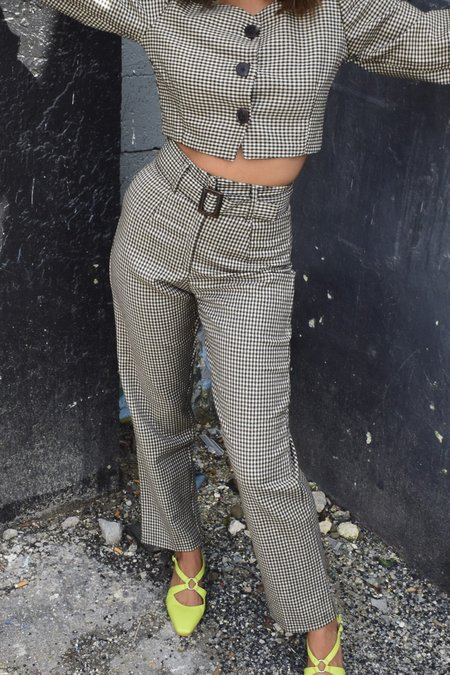 Tach Portia Pant - Brown Houndstooth