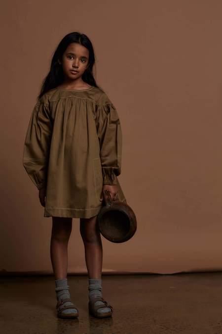 Kids Feather Drum GRACE DRESS - KHAKI