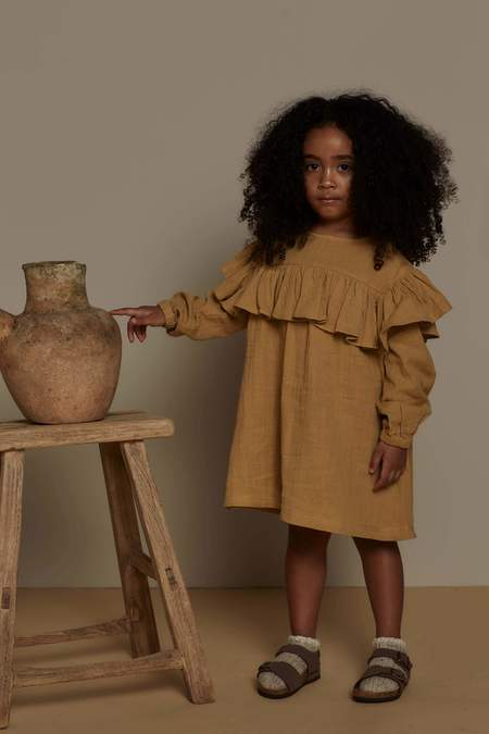Kids Feather Drum LONG SLEEVE FRILL SMOCK - CARAMEL