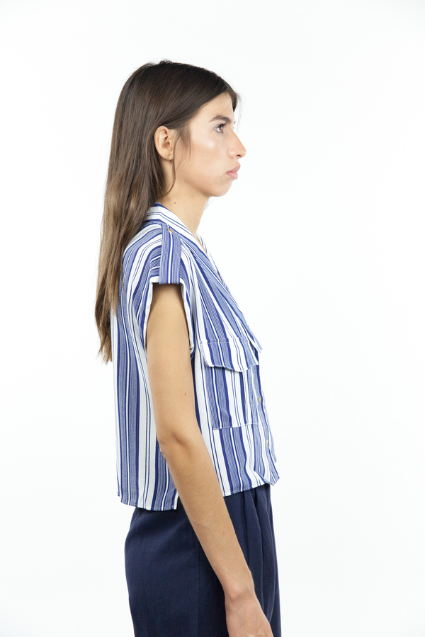 L'Academie Safari Crop Top - Sailor Stripe
