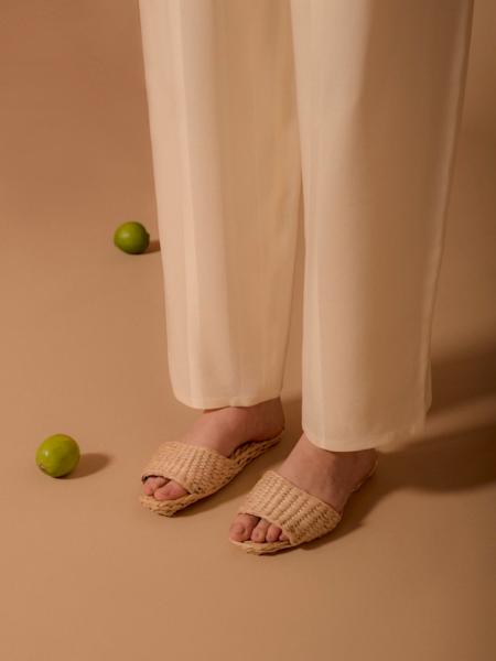 Folk Fortune Straw Sandal Slippers