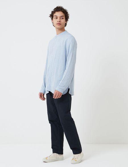 Folk Clothing Folk Half Placket Grandad Shirt - Blue Slub