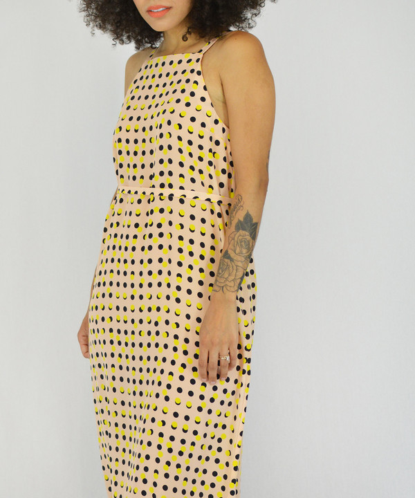 Dusen Dusen Peach Double Dot High Neck Dress