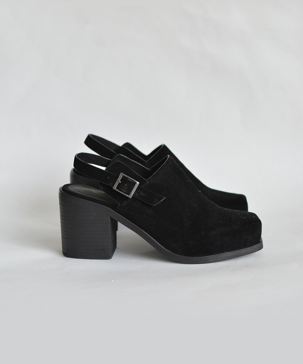 Intentionally Blank Black Suede Honcho Biker Mule