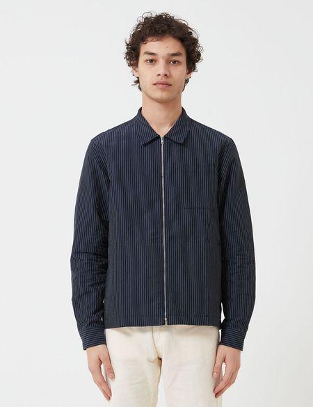 YMC Bowie Zip Mini Stripe Shirt - Navy Blue