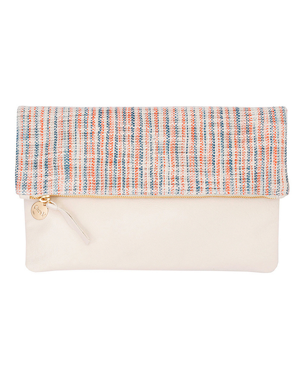 Clare V. Matilde Cream Leather & Canvas Foldover Clutch
