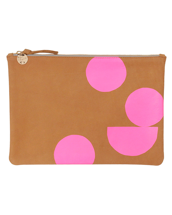 Clare V. Camel Nubuck Flat Clutch with Pink Circles