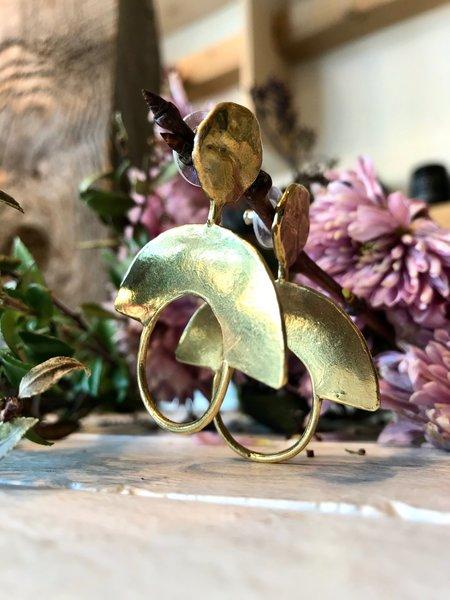Ora-C Cleopatra Earrings - Brass