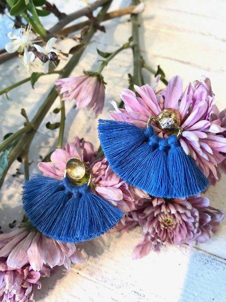 Ora-C Odrey Earrings - Brass/Colbalt