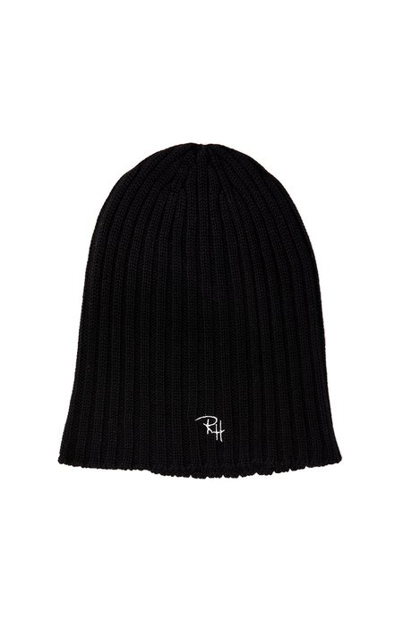 RON HERMAN Ribbed Beanie with RH Initials