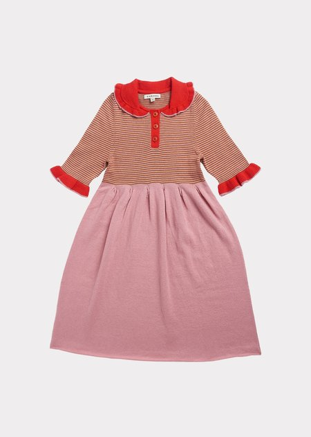 Kids Caramel Portobello Knitted Dress - Pink Stripe