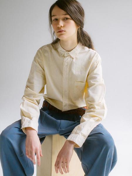 Audrey Louise Reynolds Organic Cotton Oxford Button Down Shirt - Ecru