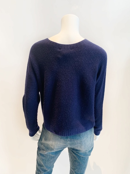 Suzusan cashmere hand dyed rope sweater classic crew - royal blue