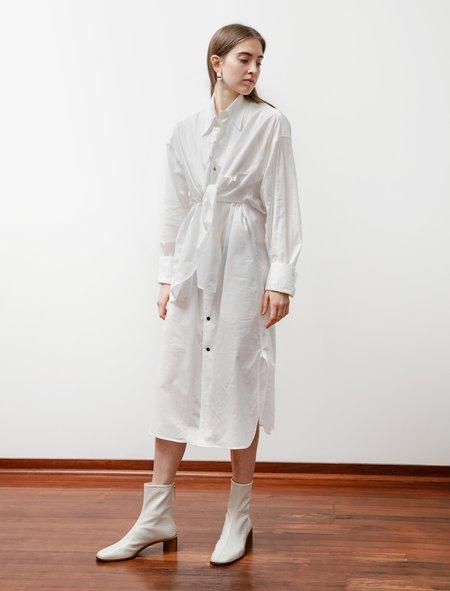 Ys by Yohji Yamamoto Layered Cotton Lawn Shirtdress - White
