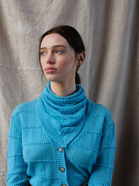 Ros Duke cashmere Gingham Triangle Scarf - Turquoise