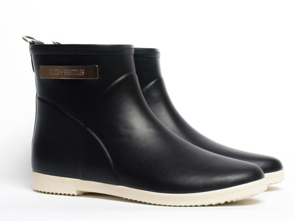 Black + White Ankle Rain Boot
