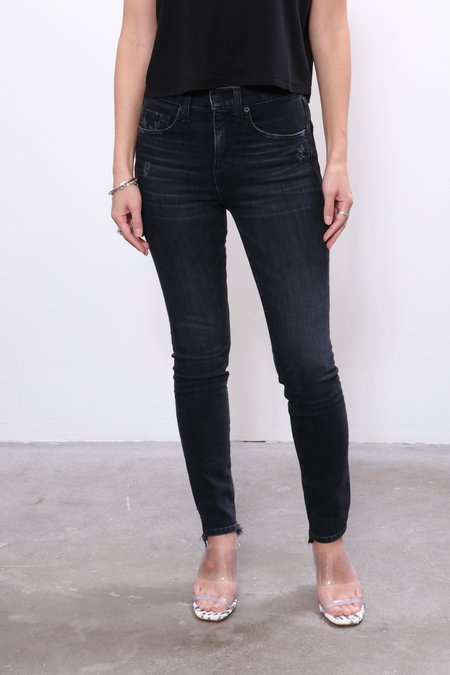 Nili Lotan Distressed Mid Rise Jean - Black