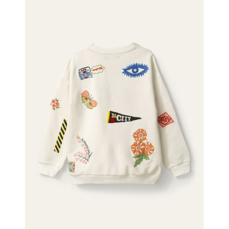kids oilily heritage sweatshirt - white