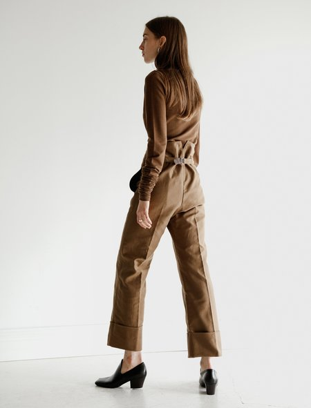 Lemaire Cropped Straight Pants - Dark Earth