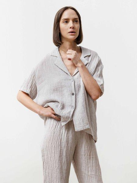 Bowling Shirt - Crinkle Linen Silver