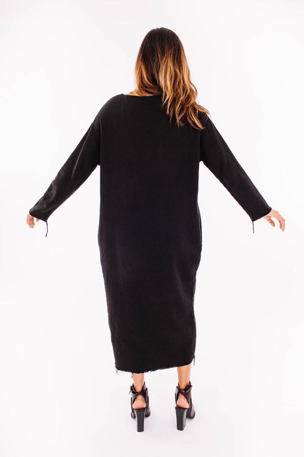 Black Crane Quilted Long Dress (Black)