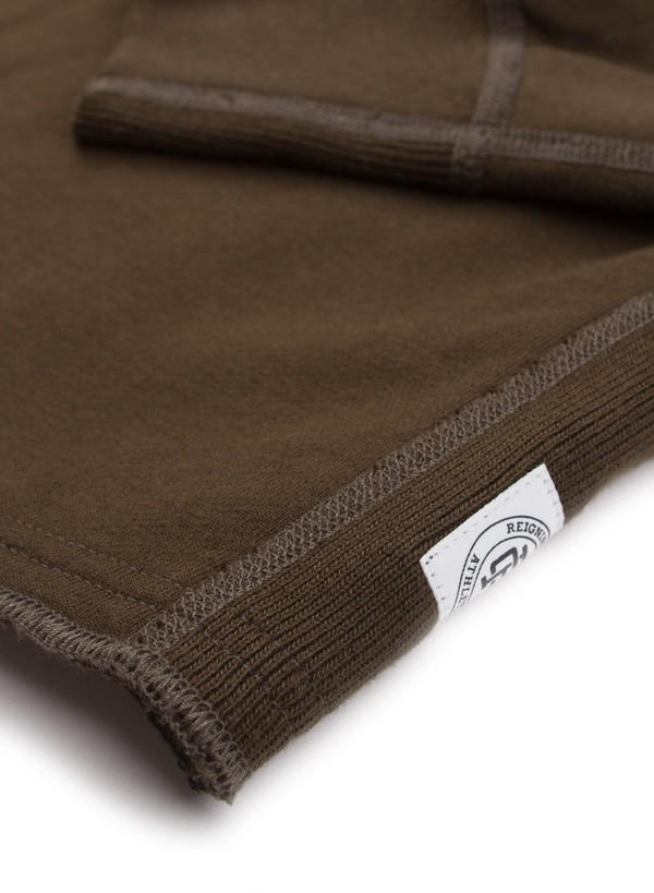 Reigning Champ Knit Midweight Terry Scalloped LS Crewneck Olive