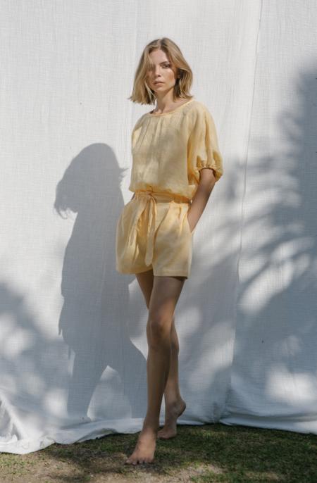 at Dawn. High Waist Linen Shorts