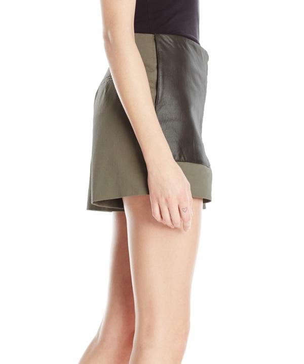 Vincetta Olive Leather Pocket Short