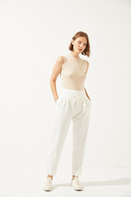 CUS Tulip trousers in white twill