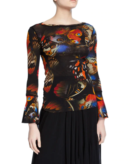 Fuzzi butterfly boat neck blouse - deep orange