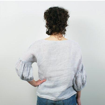 modaspia Lantern Sleeve Blouse - Silver/Navy Grid Linen