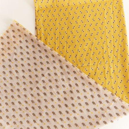 Hartford Two Tone Print Cotton Scarf - yellow
